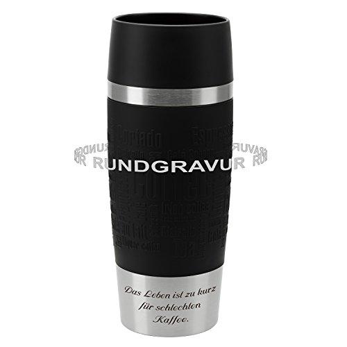 Emsa Thermobecher TRAVEL MUG Schwarz 0,36 L mit persönlicher Rund-Gravur gelasert Edelstahl Soft-Touch-Manschette mit Quick Express Verschluss