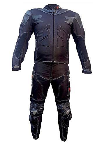 BIESSE - Tuta da MOTO per adulto in pelle e tessuto, divisibile in 2 pezzi giacca e pantalone, regolabile, Colore Nero, completa di protezioni CE (nero, S)