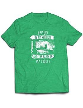 lepni.me Camisetas Hombre La Naturaleza ES Mi Religión y La Tierra ES Mi Iglesia: Al Aire Libre, Camping, Amante...
