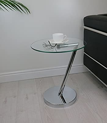 ASPECT Curve Round Side/End/Coffee Table, Glass, Clear, 45 x 52 cm