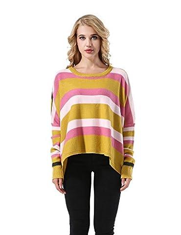 Yidarton Pull Femme Manches Chauve-souris Longues Col Rond Blouse Tricoter Sweat Shirt (Small, Jaune)