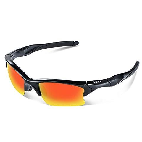 Duduma Lunettes de Sport Polarisées Hommes Sports pour Ski Conduite Golf Course Cyclisme Conception avec Cadre Design de Mode Tr566 Super Léger Demi-Cerclées Femmes et Hommes Lunettes de Soleil (cadre noir avec lentille rouge)