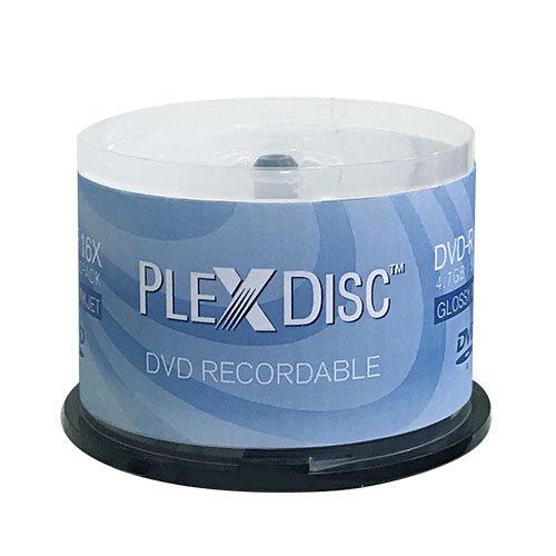 photograph about Printable Dvd Rs identify PlexDisc 16X 4.7GB Shiny White Inkjet Hub Printable DVD-R - 50 Disc - 632-514
