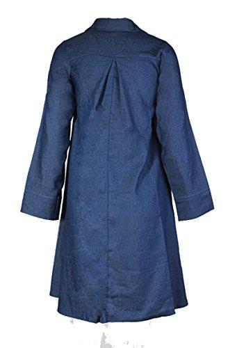 Blansdi Femme Robe Casual Jean Poche Revers Collier Blouse Manches Longues Denim Blouse Tunique Chemisier Chemise Bleu