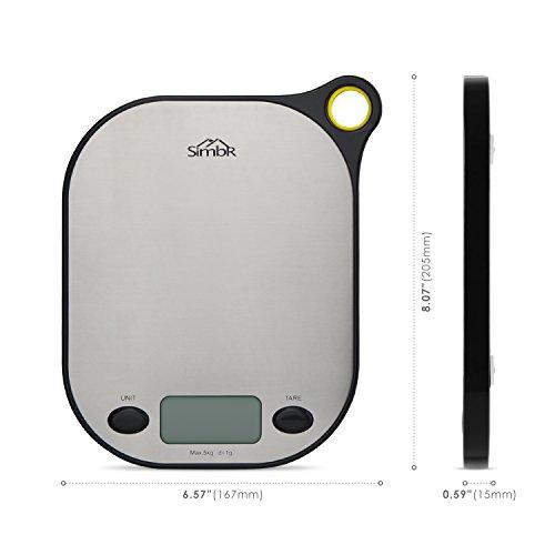 SIMBR Waage Küchenwaage mit Aufhänger und Tara-Funktion hohe Präzision von 2g bis 5kg inkl. Batterie - 2