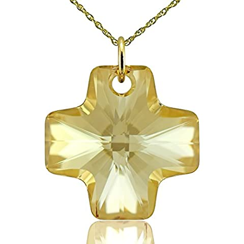 Collana croce in oro massiccio 9 cristallo Swarovski Golden Shadow e 16, 18, 20