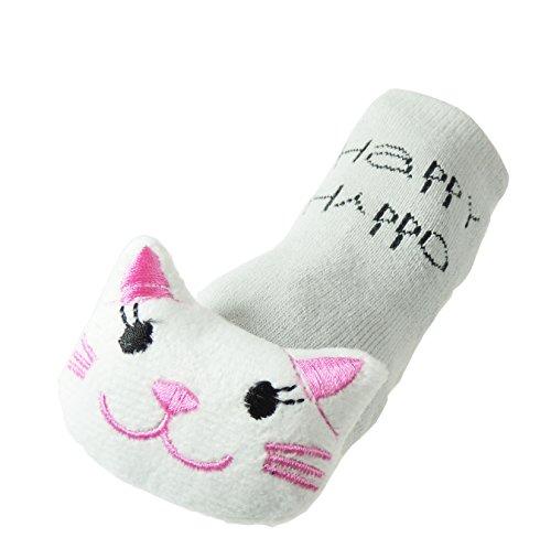 Super Cute Animal Face Boys Girls baby differenti-Calze antiscivolo da 0 a 4 anni Grey Kitty