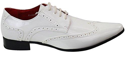 Hommes brevets richelieu en cuir Chaussures Blanc Décontractée lacets Vintage Brillant Blanc