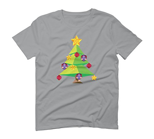 Green Polygonal Xmas tree Men's Graphic T-Shirt - Design By Humans Opal