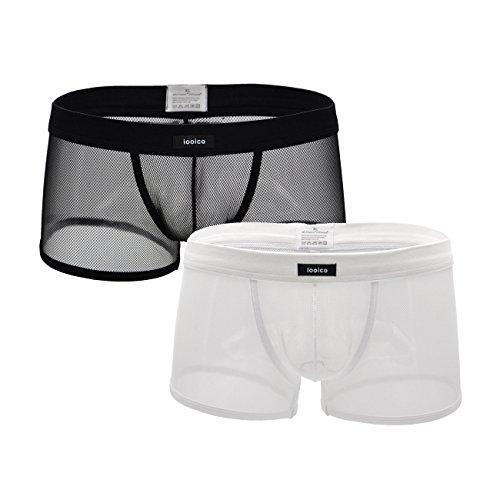 iooico Herren Boxershorts, weiche Mesh-Unterhose durchscheinende Unterwäsche 2BW XXL -
