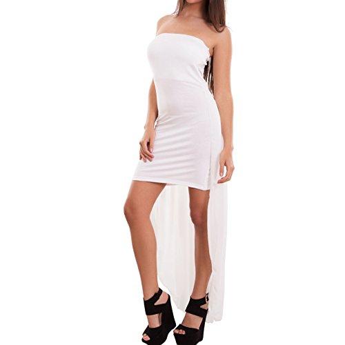 Toocool - Vestito donna mini abito corto coda velata bandeau cerimonia sexy nuovo CJ-2218 Bianco
