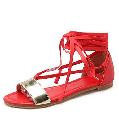 LvYuan Da donna-Sandali-Formale Casual-Comoda Innovativo Club Shoes-Piatto-Vernice Finta pelle-Nero Rosso Beige Red