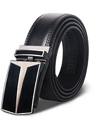 M.R Cinturón Hombre Cuero Cinturones Piel Automática Con Hebilla Trinquete  Plateada 52b782e10cf9