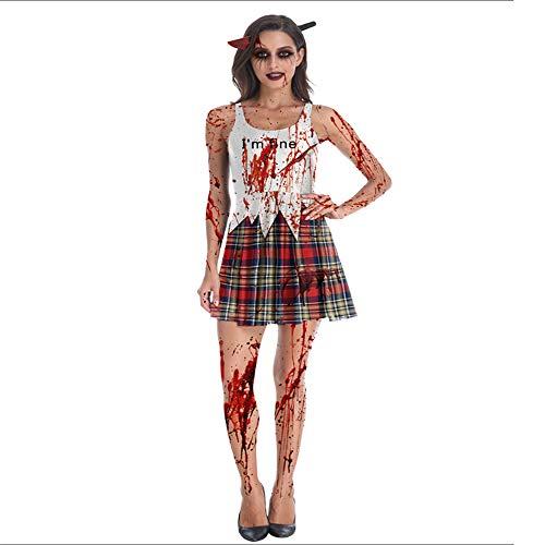 BUHUW Halloween Cosplay KostüM Halloween KostüM Ghost KostüM Horror Zombie Weibliche Ghost Kleidung Erwachsenen BüHnenkostüM Damen Weste - Ghost Kostüm Mit Tutu