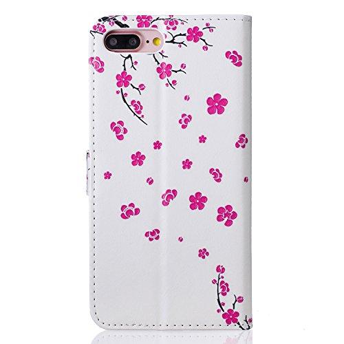 iPhone 7 Plus Hülle, iPhone 8 Plus Hülle, iPhone 7 Plus / 8 Plus Hülle Muster, iPhone 7 Plus / iPhone 8 Plus Leder Wallet Tasche Brieftasche Schutzhülle, BONROY 3D Bunte Retro Muster Ledertasche Elega Pfirsichblüte