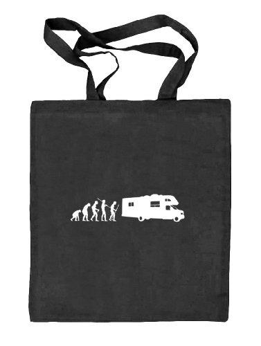 Shirtstreet24, Evolution Camper, Borsa Da Campeggio In Tessuto Borsa Di Juta (taglia Unica) Nero Natura