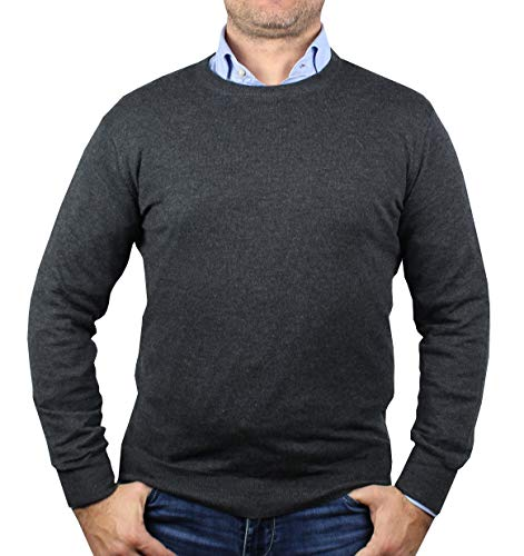 Maglia 1st American da Uomo Cashmere e Seta Pullover Girocollo Manica Lunga Maglione Cachemire e Seta