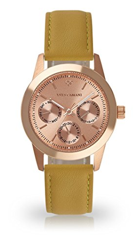YVES CAMANI MADELAINE Women's Wrist Watch Quartz Analog Rosegold Stainless Steel Case Rosegold Dial (Leather - Yellow)