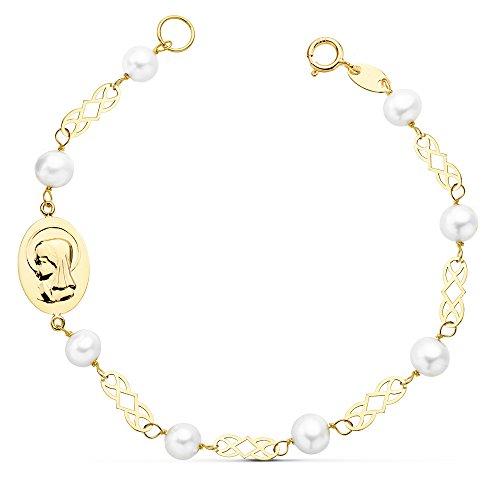 Pulsera Niña 1ª Comunión Oro 18k 16 cm Perlas y Medalla Virgen Niña - GRABADO INCLUIDO