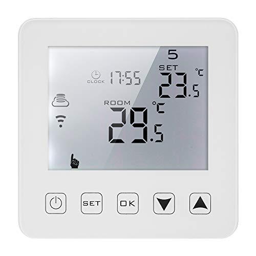 Decdeal WiFi Thermostat Numérique Programmable Thermostat Chauffage Electrique avec Ecran Tactile LCD et Récepteur pour Système de Chauffage Fixation Murale - 3A/250V(Blanc)