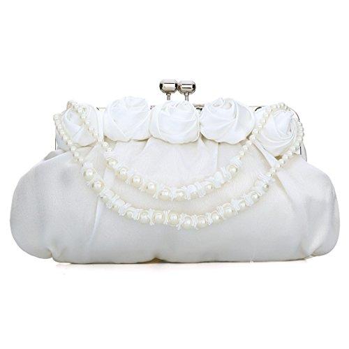 YYW Satin Clutch Bag, Poschette giorno donna White
