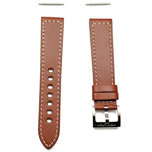 Hamilton Khaki Lederband braun mit Stahlschliesse 20mm h600.704.104