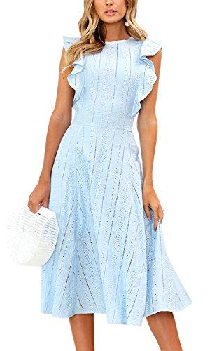 ECOWISH Spitzenkleid Damen Rundhals Ärmellos Sommerkleider Strandkleider A-Linien Kleid Abendkleid Cocktailkleider Knielang Blau M