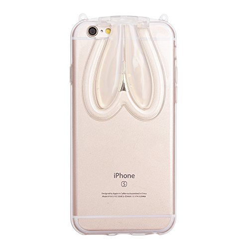 "iProtect TPU Schutzhülle Apple iPhone 6 6s (4,7"") Bunny Soft Case - flexible Hülle in transparent rosa mit Hasenohren Bunny-Case transparent"