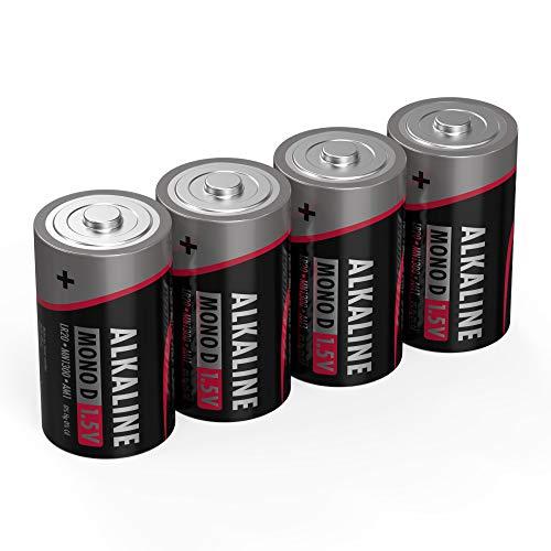 ANSMANN Batterien Mono D LR20 4 Stück 1,5V - Alkaline Batterie langlebig & auslaufsicher - Ideal für Spielzeug, LED Taschenlampe, Radio, Modellbau uvm (Taschenlampe D Batterien)