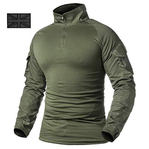 Refire gear uomo tattico militare esercito maglietta combat training t-shirt a maniche lunghe con 1/4cerniera, uomo, army green, uk l (tag xxl)