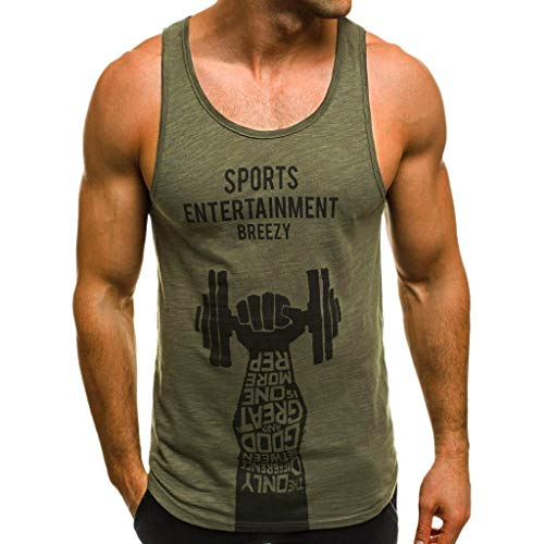 UJUNAOR Herren Tank Tops Sommer Sport Fitness Ärmellos Drucken T-Shirt Casual Tops Baumwolle(Large,Grün)
