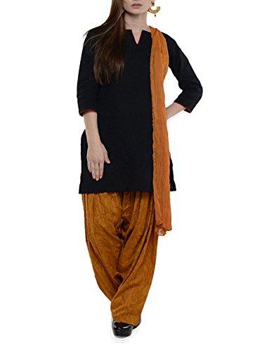 Womens Cottage Women's Golden Pure Cotton Jacquard Semi Patiala Salwar & Chiffon Dupatta Stole Set with Lace