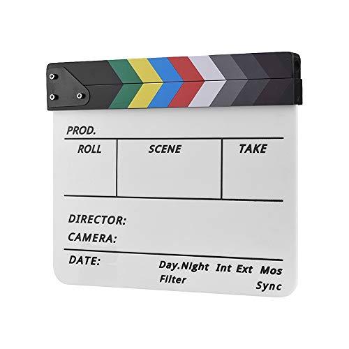 Dry Erase Acryl Director Film Clapboard Film TV Cut Action Szene Clapper Board Schiefer mit Marker Pen, Color Stick, Weiß (Color : Multicolor)