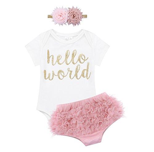 iEFiEL Baby Mädchen Kleidung Sets Prinzessin Kurzarm Body Strampler + Pumphose + Stirnband Festlich Blumenkleid Kleinkind Weiß & Dunkle Rosa 62