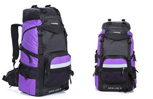 Bergsteigen, Latex, 45 l Wandern camping Rucksäcke große Kapazität Rucksack Tasche Purple