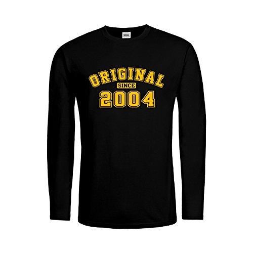 2004 Langarm-t-shirt (MDMA Men T-Shirt Longsleeve Original since 2004 N14-mdma-mtls00520-10 Textil black / Motiv gelb Gr. XXL)
