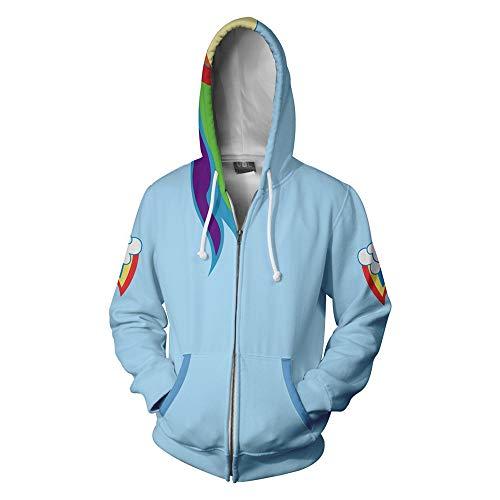 Wycdbk Unisex Hoodies Sweatshirts 3D Rainbow Dash HD Print Pullover Tops mit Taschen (S-3XL) Reißverschluss L (Dash Pullover Rainbow)