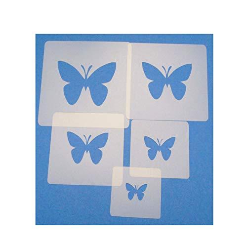 Schablonen Set ● 5 einzelne Schmetterlinge ● 2 cm, 3cm, 4cm, 5cm, 6cm groß