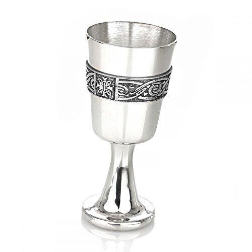 Celtic Band Pewter Goblet - keltischer Weinkelch aus poliertem Zinn - 16 cm