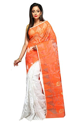 ar shop Women's Cotton Silk Saree Without Blouse Piece (Ar0032 _Orange &...