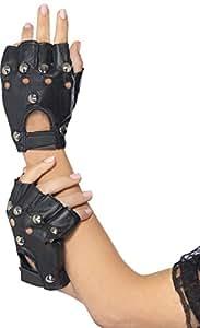 Smiffys, Unisex Punk Handschuhe mit Nieten, One Size, Schwarz, 22444
