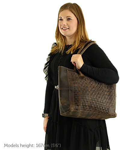 Gusti Leder studio ''Milla'' borsa shopper di pelle di bufalo a mano tempo libero città elegante marrone scuro 2H78-26-54