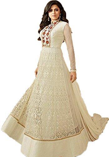 Clothfab Women's Net Embroidered Work Anarkali Fancy Designer Party Wear Semi-Stitched Salwar...