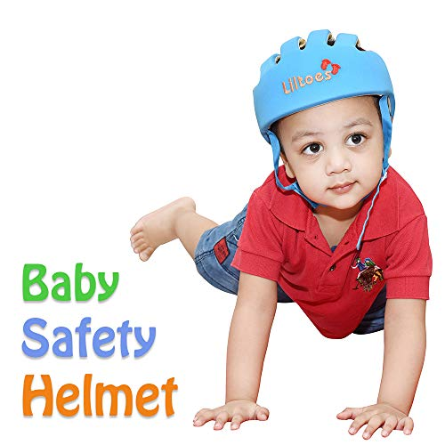 Liltoes Baby Safety Helmet with Embroidery (Blue), Corner Guard with Proper Ventilation