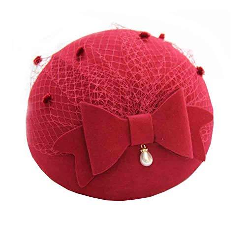 Sunny Berets Frauen Herbst Und Winter Mesh Bow Topper Stilvolle Sweet Stewardess Hat (Farbe : Burgundy) -
