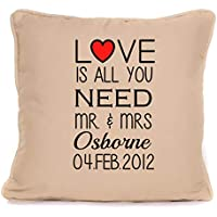 Personalised Mr and Mrs Throw Pillow Gift For Valentines Day Or Wedding Anniversary | 'Love Is All You Need' | 18x18 Inch Cushion Pillow with Pad | Present For Couples