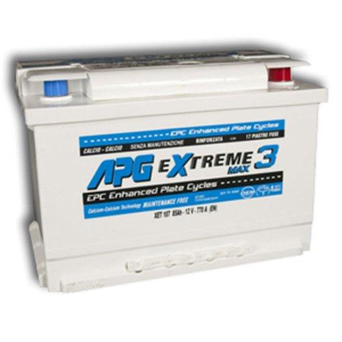 APG XET107 Extreme 3 Max - Batteria auto adatta anche per veicoli con sistema START & STOP in acido libero, 85Ah