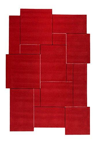 Esprit Home I Moderner Kurzflor Teppich - Läufer aus Wolle für Wohnzimmer, Flur, Schlafzimmer I Puzzle I Rot I (70 x 140 cm) -