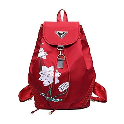 Ankena Casual Backpack Woman Water Resistant Nylon Daypack Lotus Design Red