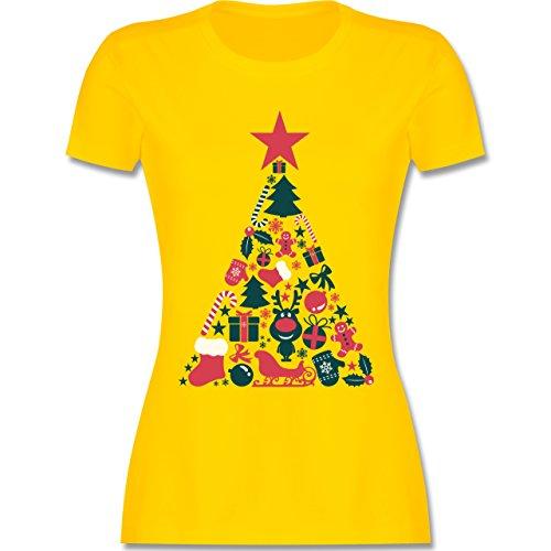 Weihnachten & Silvester - Weihnachtsbaum Collage - tailliertes Premium T-Shirt mit Rundhalsausschnitt für Damen Gelb